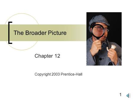 1 The Broader Picture Chapter 12 Copyright 2003 Prentice-Hall.