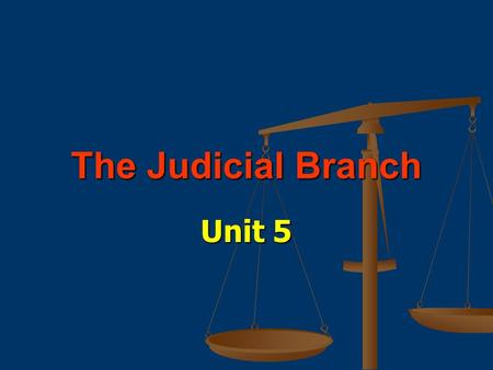 The Judicial Branch Unit 5. Court Systems & Jurisdictions.