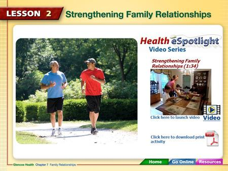Strengthening Family Relationships (1:34) Click here to launch video Click here to download print activity.