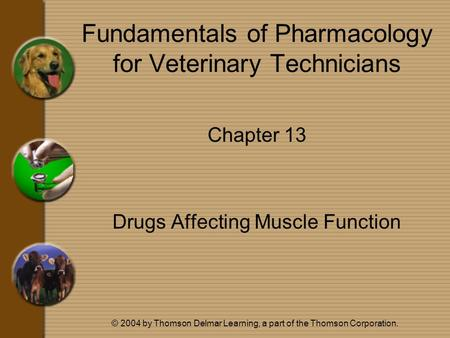 © 2004 by Thomson Delmar Learning, a part of the Thomson Corporation. Fundamentals of Pharmacology for Veterinary Technicians Chapter 13 Drugs Affecting.