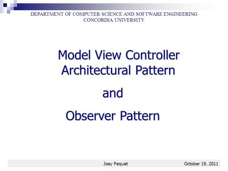 Model View Controller Architectural Pattern and Observer Pattern