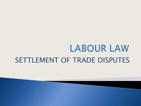 SETTLEMENT OF TRADE DISPUTES. 1 Procedure for dispute settlement (C4, P2, LL)