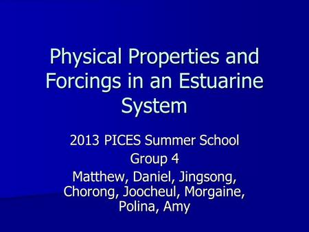 Physical Properties and Forcings in an Estuarine System 2013 PICES Summer School Group 4 Matthew, Daniel, Jingsong, Chorong, Joocheul, Morgaine, Polina,