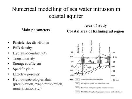 Numerical modelling of sea water intrusion in coastal aquifer Main parameters Particle-size distribution Bulk density Hydraulic conductivity Transmissivity.
