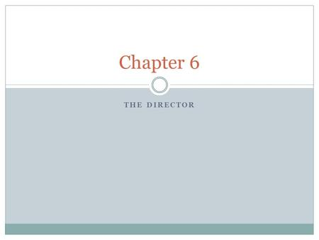 THE DIRECTOR Chapter 6. Directing Directing is an art whose product is the most ambiguous, perhaps the most mysterious, in the theatre. The person who.