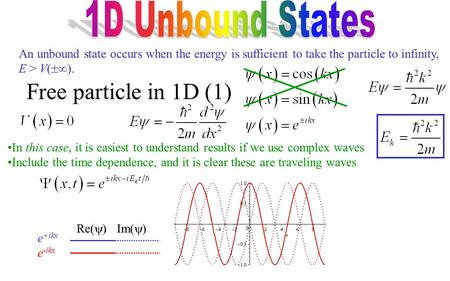 An unbound state occurs when the energy is sufficient to take the particle to infinity, E > V(  ). Free particle in 1D (1) In this case, it is easiest.