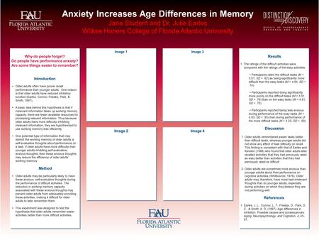 Anxiety Increases Age Differences in Memory Jane Student and Dr. Julie Earles Wilkes Honors College of Florida Atlantic University Why do people forget?