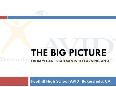 "THE BIG PICTURE FROM ""I CAN"" STATEMENTS TO EARNING AN A Foothill High School AVID Bakersfield, CA."