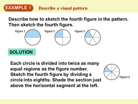 EXAMPLE 1 Describe a visual pattern Describe how to sketch the fourth figure in the pattern. Then sketch the fourth figure. SOLUTION Each circle is divided.