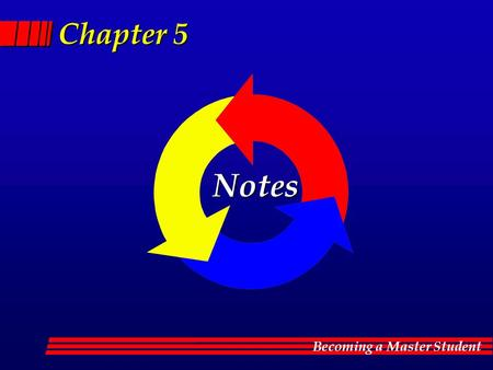 Becoming a Master Student Chapter 5 Notes. Becoming a Master Student The note taking process flows Notes.