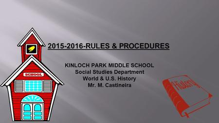 2015-2016-RULES & PROCEDURES KINLOCH PARK MIDDLE SCHOOL Social Studies Department World & U.S. History Mr. M. Castineira.