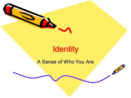IdentityIdentity A Sense of Who You Are. What makes up your identity? Combination of personality, abilities, strengths, weaknesses, interests, and values.