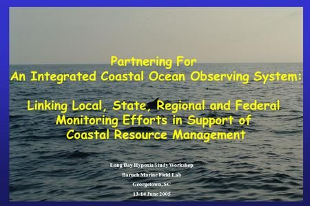 Partnering For An Integrated Coastal Ocean Observing System: Linking Local, State, Regional and Federal Monitoring Efforts in Support of Coastal Resource.