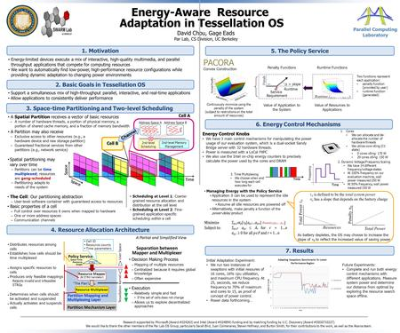 Energy-Aware Resource Adaptation in Tessellation OS 3. Space-time Partitioning and Two-level Scheduling David Chou, Gage Eads Par Lab, CS Division, UC.