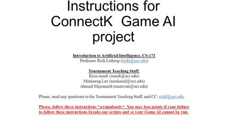 Instructions for ConnectK Game AI project