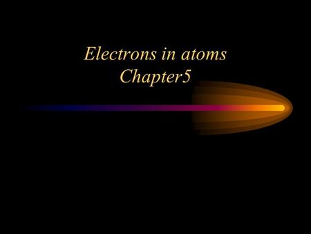 Electrons in atoms Chapter5 Waves Light travels as both Waves and Packets of energy. Light is a form of Electromagnetic Radiation. –EM Radiation has.