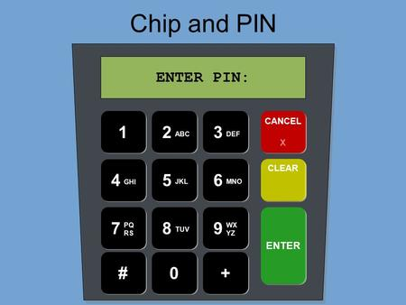 Chip and PIN 4 GHI 23 7 ABCDEF PQ RS 1 56 89 0 JKLMNO TUV WX YZ #+ CANCEL X CLEAR ENTER ENTER PIN: