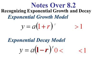 Notes Over 8.2 Recognizing Exponential Growth and Decay Exponential Growth Model Exponential Decay Model.