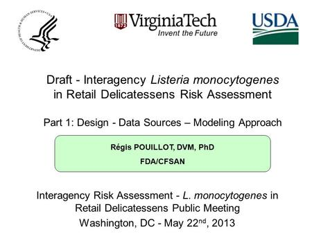 Régis POUILLOT, DVM, PhD FDA/CFSAN Draft - Interagency Listeria monocytogenes in Retail Delicatessens Risk Assessment Part 1: Design - Data Sources – Modeling.