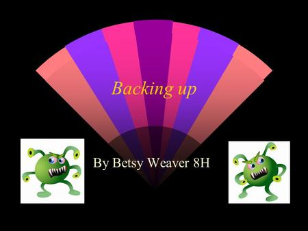 Backing up By Betsy Weaver 8H. What is backup, and why should you do it? w So that you don't lose all your files if you are attacked by a virus or hackers,