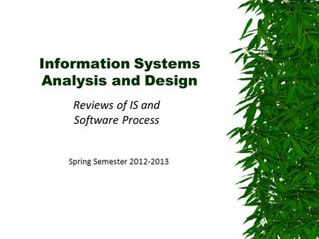 Information Systems Analysis and Design Reviews of IS and Software Process Spring Semester 2012-2013.