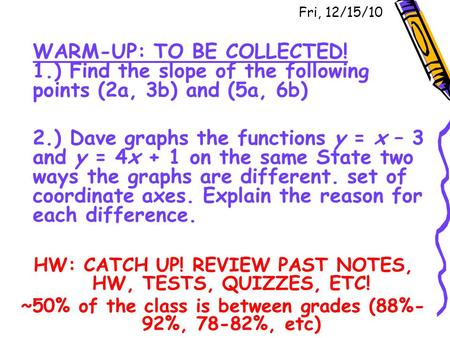 Fri, 12/15/10 WARM-UP: TO BE COLLECTED! 1.) Find the slope of the following points (2a, 3b) and (5a, 6b) 2.) Dave graphs the functions y = x – 3 and y.