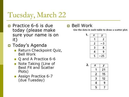 Tuesday, March 22  Practice 6-6 is due today (please make sure your name is on it)  Today's Agenda Return Checkpoint Quiz, Bell Work Q and A Practice.