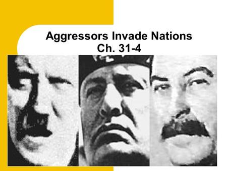 Aggressors Invade Nations Ch. 31-4. Describe the League of Nations.