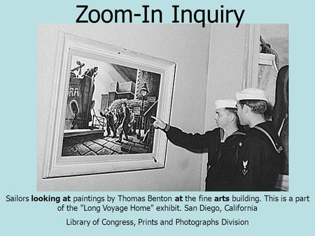 Sailors looking at paintings by Thomas Benton at the fine arts building. This is a part of the Long Voyage Home exhibit. San Diego, California Library.