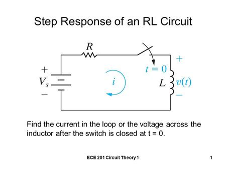 ECE 201 Circuit Theory 11 Step Response of an RL Circuit Find the current in the loop or the voltage across the inductor after the switch is closed at.