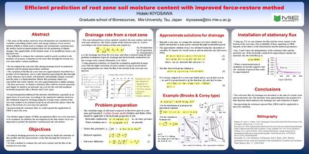 Conclusions The states of the surface and root zoon soil moisture are considered as key variables controlling surface water and energy balances. Force-restore.