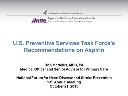 U.S. Preventive Services Task Force's Recommendations on Aspirin