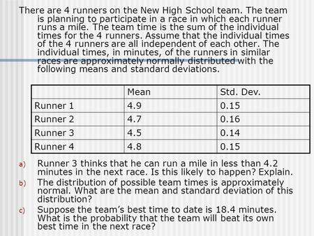 There are 4 runners on the New High School team. The team is planning to participate in a race in which each runner runs a mile. The team time is the sum.