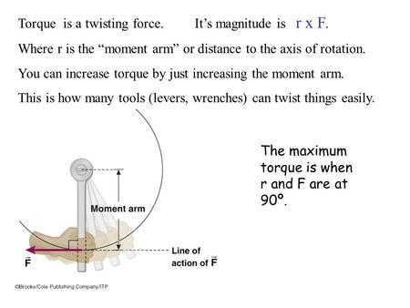 "Torque is a twisting force. It's magnitude is r x F. Where r is the ""moment arm"" or distance to the axis of rotation. You can increase torque by just increasing."