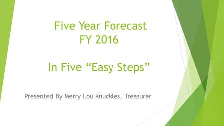 "Five Year Forecast FY 2016 In Five ""Easy Steps"" Presented By Merry Lou Knuckles, Treasurer."