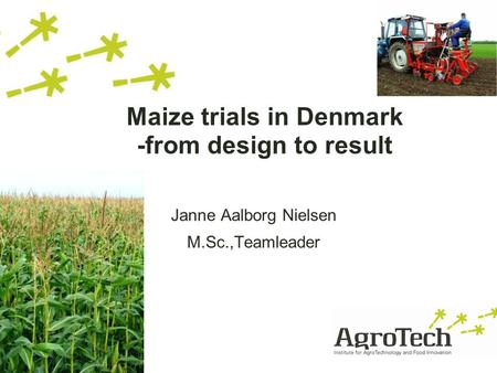 Maize trials in Denmark -from design to result Janne Aalborg Nielsen M.Sc.,Teamleader.