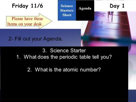 Friday 11/6 Day 1 Science Starters Sheet 1. Please have these Items on your desk. Agenda 2- Fill out your Agenda. 3.Science Starter 1.What does the periodic.
