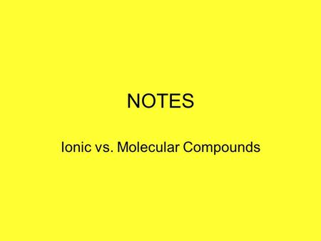 NOTES Ionic vs. Molecular Compounds. AKA Salts Formula units Molecular compounds Molecules IONIC / IONIC COVALENT / MOLECULAR.