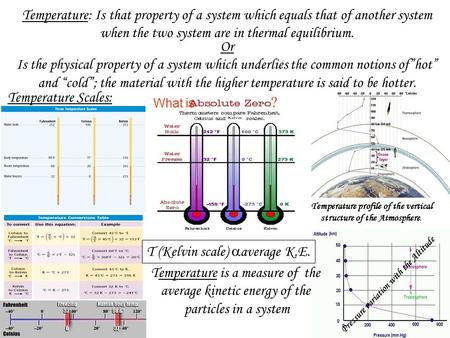 Temperature: Is that property of a system which equals that of another system when the two system are in thermal equilibrium. Or Is the physical property.