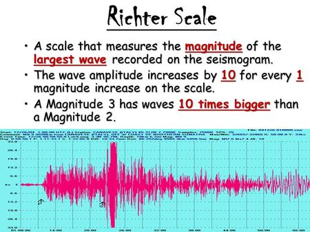 Richter Scale A scale that measures the magnitude of the largest wave recorded on the seismogram.A scale that measures the magnitude of the largest wave.