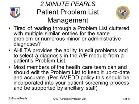 2 Minute Pearls AHLTA Patient Problem List 1 of 17 2 MINUTE PEARLS Patient Problem List Management Tired of reading through a Problem List cluttered with.