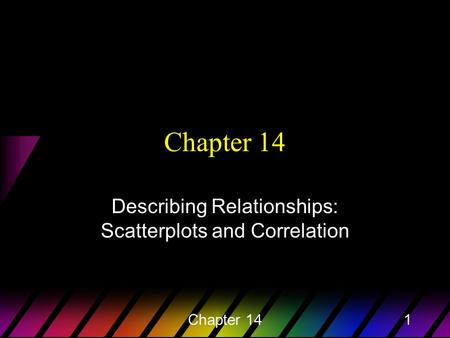 Chapter 141 Describing Relationships: Scatterplots and Correlation.