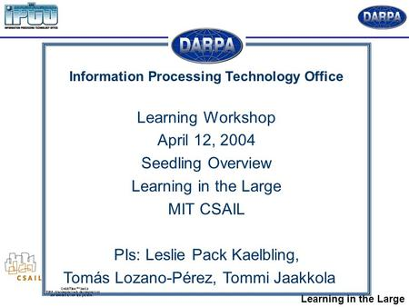 Learning in the Large Information Processing Technology Office Learning Workshop April 12, 2004 Seedling Overview Learning in the Large MIT CSAIL PIs: