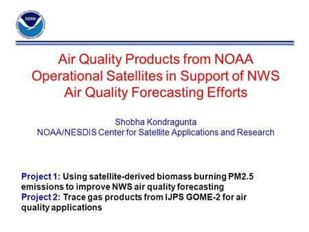 Air Quality Products from NOAA Operational Satellites in Support of NWS Air Quality Forecasting Efforts Shobha Kondragunta NOAA/NESDIS Center for Satellite.