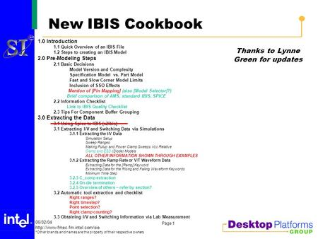 06/02/04 *Other brands and names are the property of their respective owners Page 1 New IBIS Cookbook 1.0 Introduction.