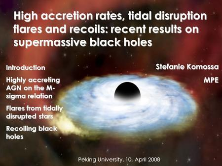 High accretion rates, tidal disruption flares and recoils: recent results on supermassive black holes Introduction Highly accreting AGN on the M- sigma.