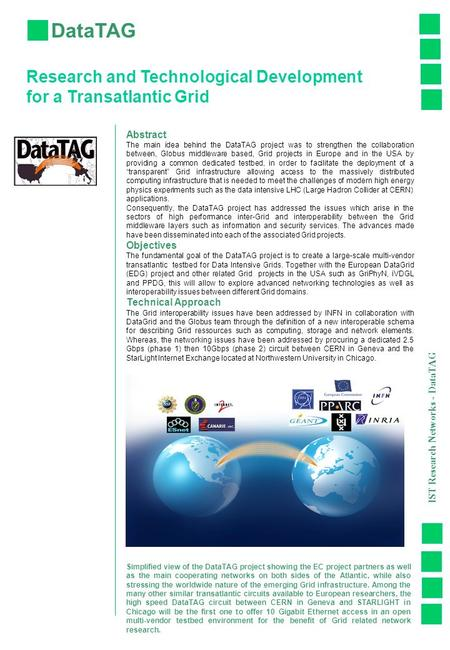 DataTAG Research and Technological Development for a Transatlantic Grid Abstract The main idea behind the DataTAG project was to strengthen the collaboration.