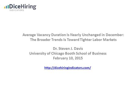 Average Vacancy Duration Is Nearly Unchanged in December: The Broader Trends Is Toward Tighter Labor Markets Dr. Steven J. Davis University of Chicago.