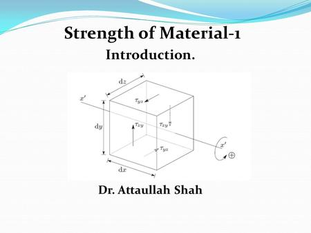 Strength of Material-1 Introduction. Dr. Attaullah Shah.