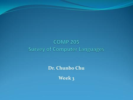 Dr. Chunbo Chu Week 3. XML Not a replacement for HTML. XML and HTML were designed with different goals: XML was designed to transport and store data,